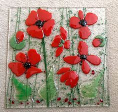 Fused glass - poppies                                                                                                                                                                                 More