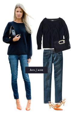 J.Crew: Cashemere Isabella sweatshirt, Michael by Michael Kors Berkley clutch, Old Navy: The Sweetheart jean, J.Crew: Valentina slingbacks