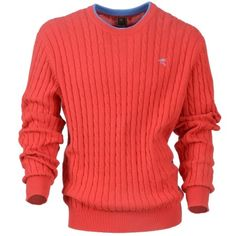 $115 FREELAG- Men's Casual Knitwear -Men's stand neck knit with button placket and cable/wide rib design. End Of Season Sale, Knitwear, Cable, Trousers, Men Sweater, Men Casual, Seasons, Knitting, Sweaters