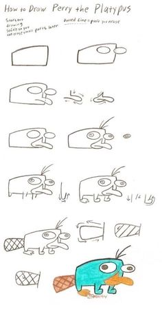 How to Draw Perry ^_^ by Spectrumelf on DeviantArt Easy Doodle Art, Doodle Art Drawing, Art Drawings Sketches, Cartoon Drawings, Animal Drawings, Painting & Drawing, Drawing Drawing, Drawing Ideas, Easy Disney Drawings