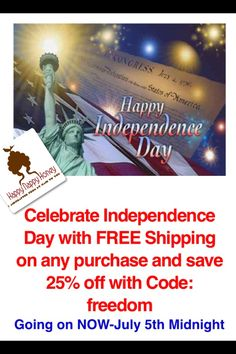 Today is the last day to celebrate Independence day with FREE shipping & 25% off. code:freedom stop by www.happynappyhoney.com