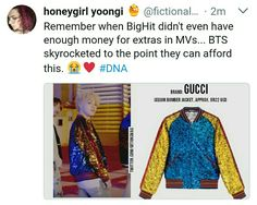 #DNA #BTS @BTS_twt #GUCCI BANGTAN << and gucci still didn't make a contract with bts