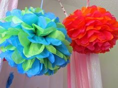 How to make Tissue Paper Pom Poms. Super easy! Saves you a ton of money :)))