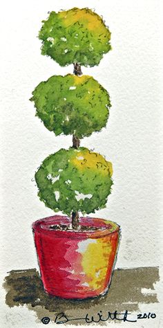 Click this link to play with making this topiary watercolor pen and ink painting into a great greeting card by reducing the image size to about plus choosing a Black Background. It pops a v (Little Mix Dibujos) Pen And Watercolor, Watercolor Pencils, Floral Watercolor, Ink Painting, Watercolor Paintings, Flower Images, Pictures To Paint, Topiary, Sculpture