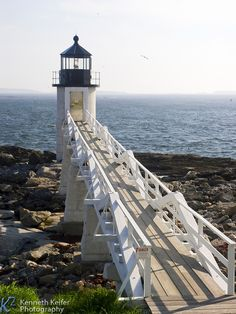 Marshall Point Lighthouse looking down causeway, Port Clyde, Maine