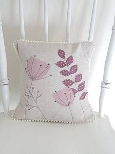 botanical cushion, botanical pillow, botanical cushion cover, applique cushion, applique pillow, decorative cushion, decorative pillow,