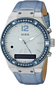 GUESS Women's CONNECT Smartwatch with Amazon Alexa and Genuine Leather Strap Buckle - iOS and Android Compatible - Blue. Seamleasly integrated with Alexa, Amazon's cloud-based voice service. Just tap and ask Alexa, to enjoy thousands of skills on the go, such as hearing the latest news, weather and traffic reports, check sport scores, and much more. Lasting 3-5 days on a single charge and up to 2 years on Analog, CONNECT tastefully blends the longevity of an Analog watch with the…