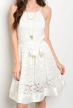 New Satin Trim Sash Waist Luxe Party Dress Halter Cut Fit & Flare Lace Dress    eBay