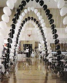 These elegant balloon arches with streamers would be great for a black and white . These elegant balloon arches with streamers would be great for a black and white themed Quinceanera party 50th Birthday Party, Birthday Party Decorations, Party Themes, Wedding Decorations, Party Ideas, Quinceanera Decorations, Prom Decor, Christmas Birthday, Party Party