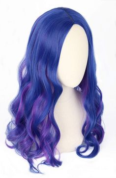 Topcosplay Kids Mal wig for Girls Children Blue and Purple Wig Halloween Costume Cosplay Wig