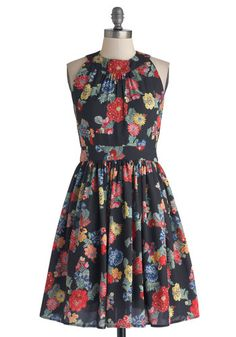 Prized Perennials Dress in Black - Floral, Party, A-line, Sleeveless, Better, Exclusives, Chiffon, Woven, Mid-length, Pockets, Multi, Red, Yellow, Green, Blue, Black