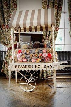 A Beautiful Beamish Hall Wedding of Simple, Chic Elegance… Lolly Buffet, Candy Buffet, Wedding Candy, Wedding Desserts, Wedding Sweet Cart, Sweet Carts, Bar A Bonbon, Pop Corn, Flower Cart