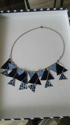 Collier triangle bleu (ma création)