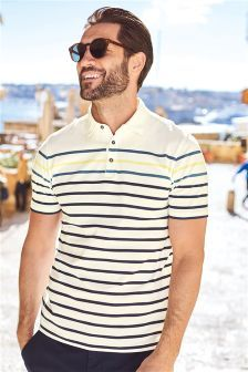Buy White Stripe Poloshirt from the Next UK online shop Latest Fashion For Women, Mens Fashion, Spring Has Sprung, Next Uk, Off Duty, Mens Tops, T Shirt, Stuff To Buy, Shopping