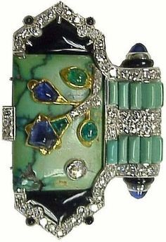 Cartier Diamond Turquoise Emerald and Sapphire Brooch