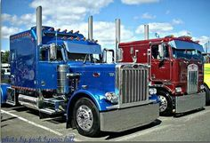 Custom Peterbilt Conventional with a Custom Sleeper: on left, on right: Custom Kenworth COE, Old school nice