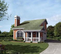 #Tiny #HousePlan 95829 | Charming exterior enjoys a wrap-around porch and a large feature window with arch and planter box. The living room features a kitchenette, fireplace, vaulted ceiling with plant shelf, separate entry with coat closet and access to adjacent powder room and garage. The stairs lead to a spacious second floor bedroom complete with bath, walk-in closet and a unique opening with louvered doors for an overview of the living room below.