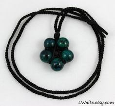Chrysocolla Black Satin Cord Wrapped Healing Crystal Star Necklace