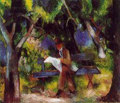 August Macke (Meschede, 1887 - Perthes-Lès-Hurlus, 1914), Homme lisant dans le parc, 1914. - #artisticaMENte - @Libriamo Tutti - http://www.libriamotutti.it/