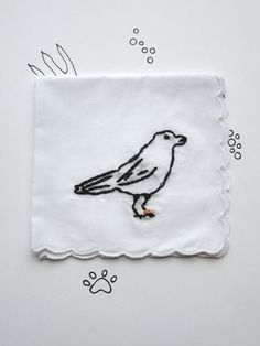 Hand Embroidered Animal Crow Hanky Gift by wrenbirdarts Gifts for the Hard-to-Buy-For Person