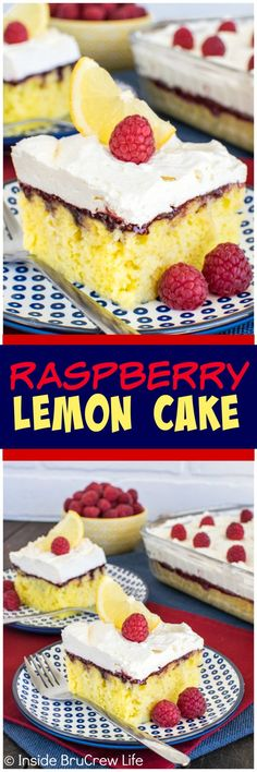 Raspberry Lemon Cake - lemon mousse and raspberry preserves add a fun twist to this easy cake.  It is the perfect summer dessert recipe.