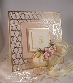 handmade card ... » Monogram Week – Day 3 – Simple Elegance .. pink and gold .. luv the sophisticated feel the metallic gold mats give this card ...