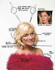 Amy Poehler photographed by Robert Trachtenberg for New York Magazine, May 15, 2011. Complete with Amy's photoshop notes!