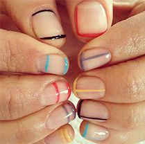 nailsbymei | Love these rainbow negative space delicate line manis!