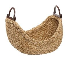 Beachcomber Wood Handled Basket   Pottery Barn