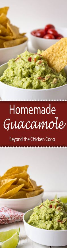 Homemade Guacamole made with just four simple ingredients: avocado, onion, tomato, and fresh squeezed lime juice.