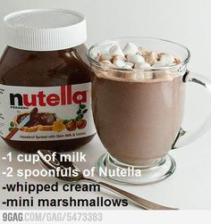 Nutella Hot Chocolate serving size): 1 cup of milk. 2 spoonfuls of Nutella. Medium heat in saucepan. Whisk until Nutella melts. Sit on stove until hot. NEW FAVORITE WINTER DRINK! Köstliche Desserts, Delicious Desserts, Dessert Recipes, Yummy Food, Drink Recipes, Fun Recipes, Recipe Ideas, Desserts Nutella, Recipies