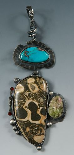 Sterling Silver, Baja Shelled Fossil, Vesuvianite Crystal, Arizona Bisbee Turquoise, Carnelian