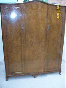 Burr Walnut triple 3 door 4 Piece 1930s Wardrobe Art Deco queen anne legs   eBay