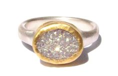 White Druzy Quartz Gemstone Ring - 24k Solid Gold and Silver Ring - Made to Order in Your Size.