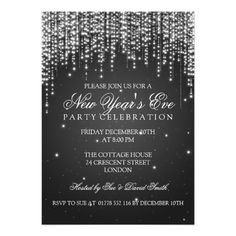 Elegant New Years Eve Night Dazzle Black Custom Invites