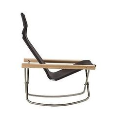 Takeshi Nii designed the Ny Rocking Chair and Ottoman in 1958, after he was inspired by an ad for a director's chair in an archival magazine from the 1930s