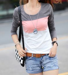 Casual Color Matching Striped Long Sleeve T-Shirt For Women (GRAY,M)   Sammydress.com