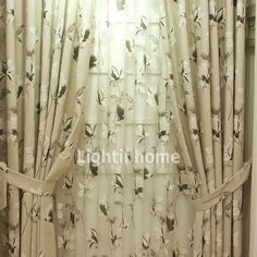 Acoustical Curtains With Country Style For Living Room Sage Green Big Window Curtains, Voile Curtains, Cheap Curtains, Curtains For Sale, Curtain Tie Backs, Big Windows, Country Style, Home And Garden