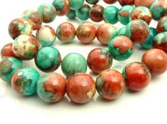 10mm Rain Flower Stone Ocean Jade Round Gemstone Beads - 15.5 Inch Strand - Turquoise Blue, Indian Red - BG5 by BlackrockBeads on Etsy