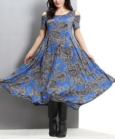 Another great find on #zulily! Gray & Blue Floral Cutout Shoulder Handkerchief Maxi Dress #zulilyfinds