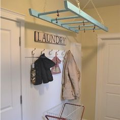 An old wooden ladder to hang delicates on! or in a counrty style kitchen for hanging pans