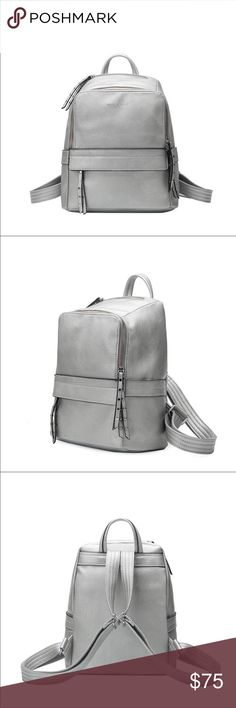 "Lacey vegan leather backpack  Silver backpack. Re-posh because I now have two. .  Color is a true silver.  Lots of pockets.  Great size!  Brand new with tags. Vegan leather.  Size is 9.5""x6""x12"" Melie Bianco Bags Backpacks"