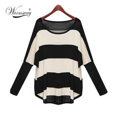 Plus Size Spring Autumn Batwing Sleeve Striped Knitted Pullover Sweater Women Loose jumper poncho sudaderas  #love #streetfashion #couture #australianbrand #people #fashion #fabolous #haute #fashionable #fashionillustration