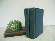 Antique Merrill's English Texts Books Set of 4 Vintage School Books Collection - Early Well Used Group of Four Blue Books for Decor or Props by DivineOrders