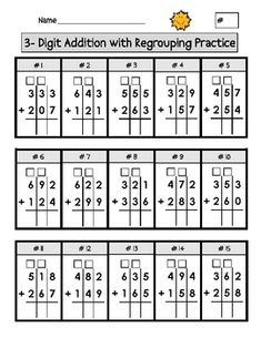 Triple Digit Addition with Regrouping Worksheets Created for elementary age students, 2 pages of add Addition With Regrouping Worksheets, Math Addition, Learning German, 2nd Grade Math Worksheets, Math Intervention, Second Grade Math, Grade 1, Math Help, Homeschool Math