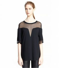 @Who What Wear - Robert Rodriguez Deep V Boxy Tee ($265) in Black  The sheer detail on this tee is sexy yet sleek.
