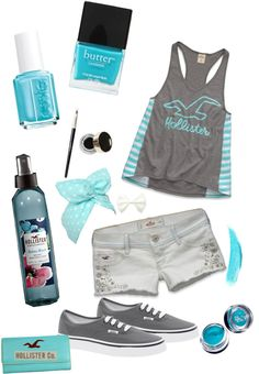 """- Turquoise Hollister Summer -"" by linds555 ❤ liked on Polyvore"