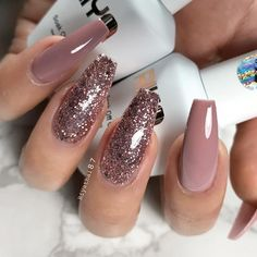 Amazing Glitter Acrylic Nail Art Designs for Holiday Par .- Amazing Glitter Acrylic Nail Art Designs for Holiday Parties – Nails Design – Pink Coffin Nails Glitter, Fall Acrylic Nails, Coffin Nails Long, Acrylic Nail Art, Rose Gold Glitter Nails, Christmas Acrylic Nails, Pink Sparkle Nails, Long Fingernails, Sparkly Nails