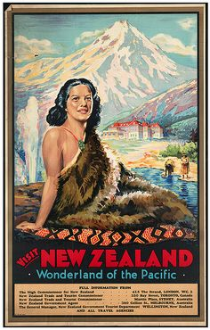 Visit New Zealand- Maori Vintage Travel Poster -Photo, Print Reproduction in New Zealand Art, Visit New Zealand, New Zealand Travel, A4 Poster, Poster Prints, Poster Wall, Art Prints, Tourism Poster, Travel Tourism