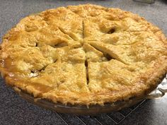 New England apple pie made of Fuji.  Five hours of work with much attention to the crust.